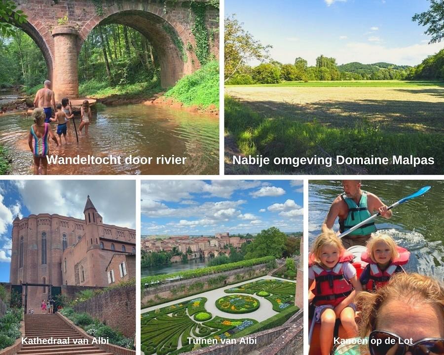 Domaine Malpas Frankrijk collage omgeving
