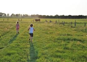 Ergoed Bossem in Twente, Nederland meisjes spelen in het weiland 2019 Erfgoed Bossem 30pluskids