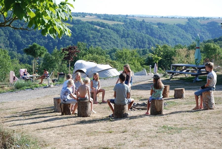 Le Clapas in de Aveyron Midi-Pyrenees, Frankrijk kampvuur