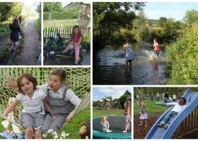 Vrijheerlijkheid in Zuid-Limburg, Nederland spelende kinderen Hoeve de Vrijheerlijkheid 30pluskids