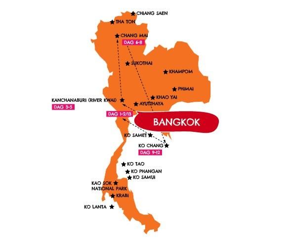 KidsReizen rondreis 13-dagen-Kids-in-Thailand kaart KidsReizen: 13-daagse rondreis Thailand 30pluskids kaart