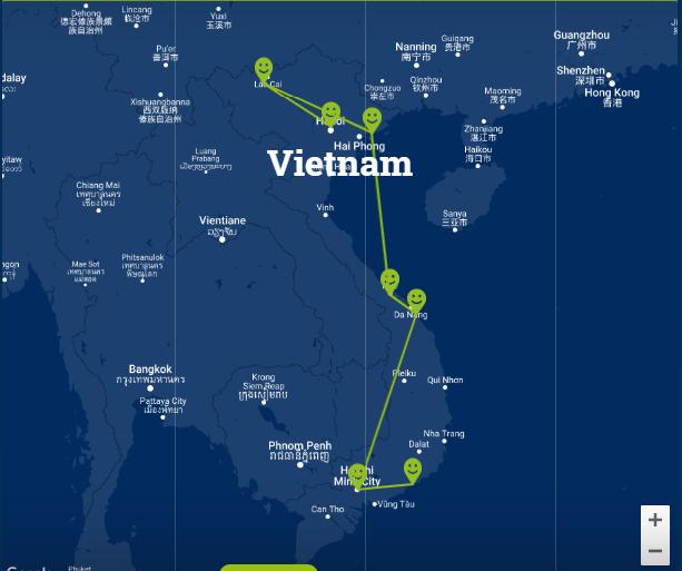 Travelnauts Kaartje rondreis Vietnam Zeilen, rijstvelden en markten in Vietnam met kinderen 30pluskids kaart