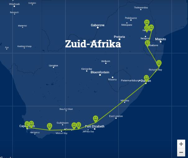 Travelnauts Kaartje rondreis Zuid-Afrika Rondreis Zuid-Afrika 30pluskids kaart