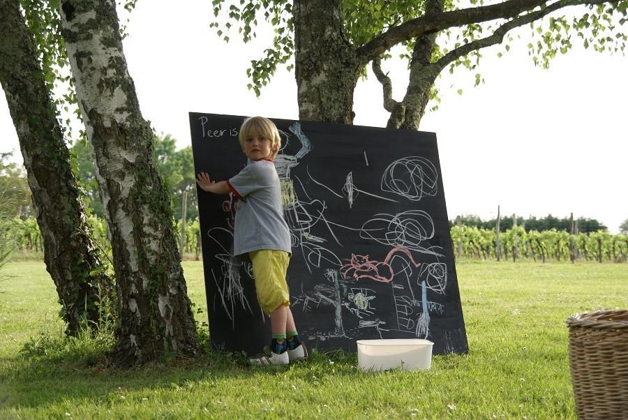 Le Guinot in de Dordogne, Frankrijk kindje aan het tekenen