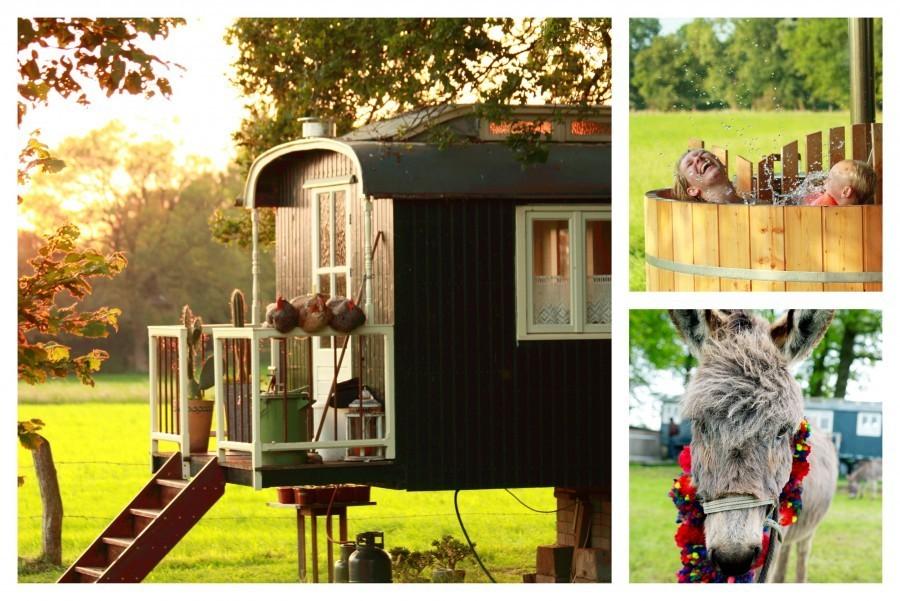 Boerderij De Kleine Wildenberg in Overijssel, Nederland pipowagen en hottub
