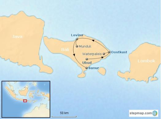 Riksja Family rondreis Bali met kids Riksja Family Indonesie 30pluskids kaart