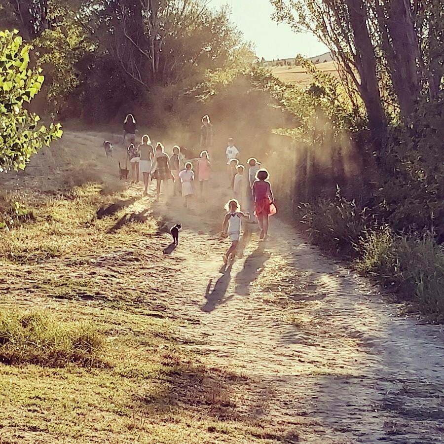 Domaine en Birbes in Laurac, Frankrijk wandeling kids door veld