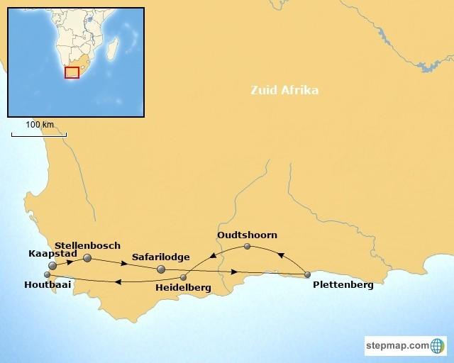 RiksjaKids Rondje Kaap gezinsrondreis Zuid-Afrika kaart Rondje Kaap gezinsreis 30pluskids kaart