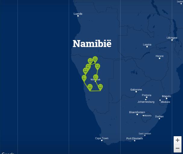 Travelnauts Kaartje rondreis Namibie Safari, zandduinen, maanlandschappen in Namibië 30pluskids kaart