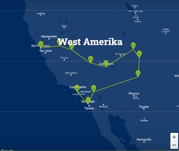 Travelnauts Kaartje rondreis West Amerika De mooie nationale parken en spannende steden in West-Amerika  30pluskids kaart