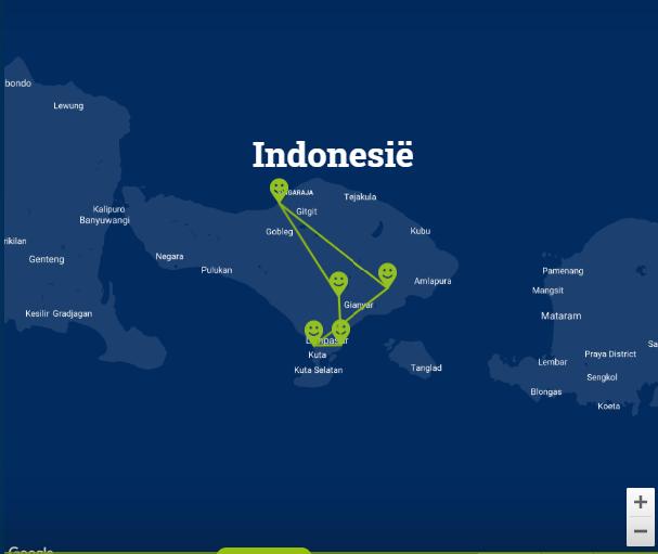 Travelnauts Kaartje rondreis Bali Rondreis Bali 30pluskids kaart