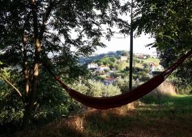 Villa Bussola in Le Marche, Italie relaxen in hangmat Agriturismo Villa Bussola  30pluskids