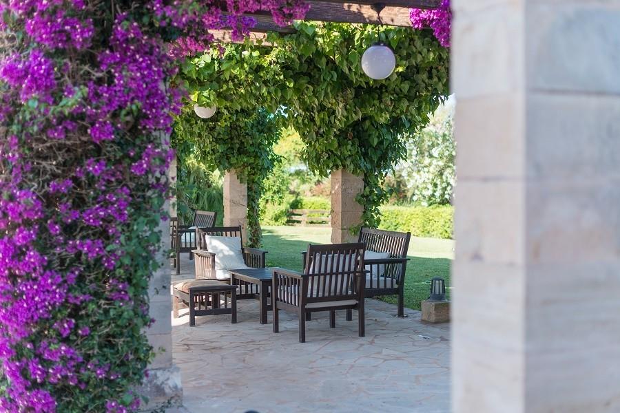 Hotel Migjorn op Mallorca, Spanje zitje onder pergola Hotel Migjorn**** 30pluskids image gallery